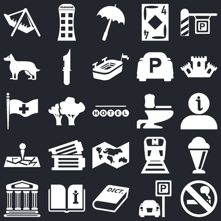 Set Of 25 icons such as No Smoking, Parking, 3D Dictionary, Open book, Monument, Castle, Toilet side view, World map, Map, Dog, Rain umbrella, Phone box on black background, web UI editable icon pack Ilustração