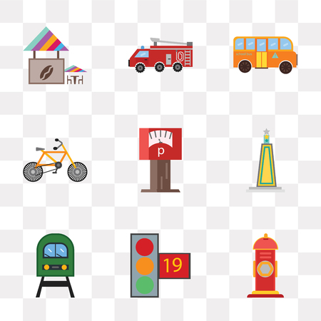 Set Of 9 simple transparency icons such as Hydrant, Traffic light, Train, Obelisk, Parking meter, Bicycle, School bus, Fire truck, Coffee shop, can be used for mobile, pixel perfect vector icon pack