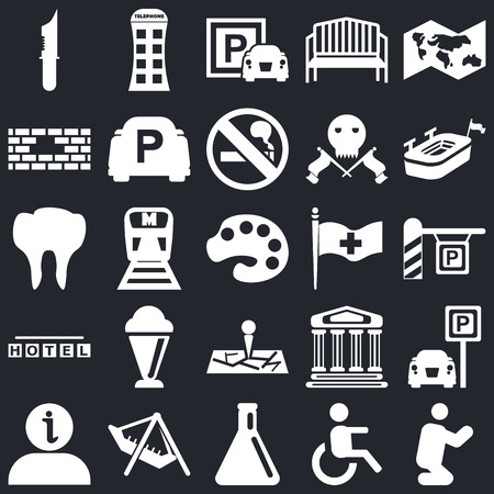 Set Of 25 simple editable icons such as Praying, Parking, Big stadium, Phone box, Information, Monument, Molar tooth on black background, web UI icon pack