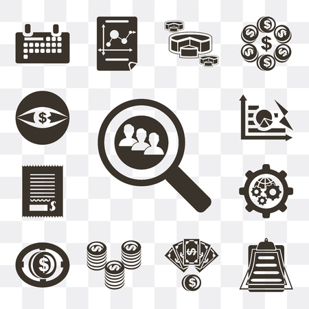 Set Of 13 simple editable icons such as Search, Clipboard, Money, Coin, Settings, Bill, Pie chart, Vision on transparent background