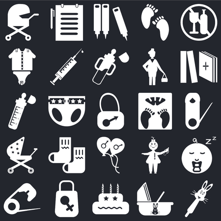 Set Of 25 icons such as Rattle, Cradle, Birthday, Bag, Safety pin, Tale, Scale, Balloon, Stroller, Baby clothes, Crayons, Medical report on black background, web UI editable icon pack