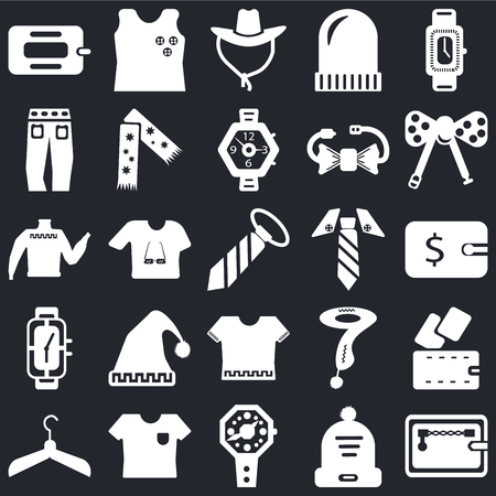 Set Of 25 icons such as Wallet, Winter hat, Watch, Shirt, Hanger, Bow tie, Tie, Jean, Cowboy Sleeveless on black background, web UI editable icon pack