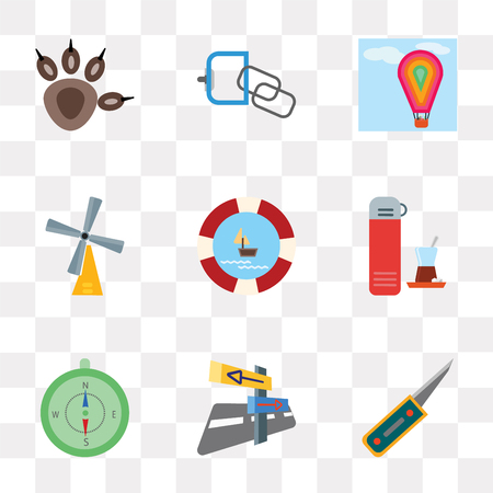 Set Of 9 simple transparency icons such as Penknife, Panels, Compass, Thermo, Float, Wind rose, Hot air balloon, Carabiner, Pawprint, can be used for mobile, pixel perfect vector icon pack on