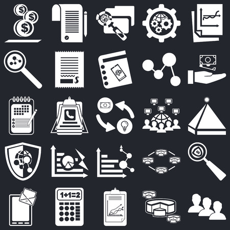 Set Of 25 icons such as User, Diagram, Clipboard, Calculator, Chat, Growth, Networking, Analytics, Shield, Search, File, Contract on black background, web UI editable icon pack Vettoriali