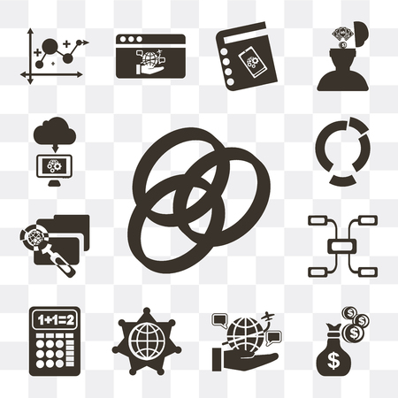 Set Of 13 simple editable icons such as Rgb, Money, Internet, Worldwide, Calculator, Diagram, File, Cloud computing on transparent background