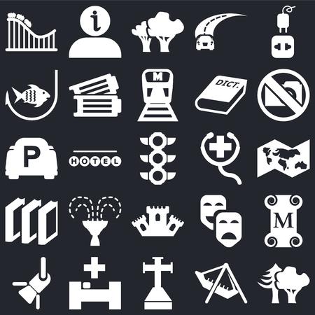 Ensemble de 25 icônes modifiables simples telles que bois, carte du monde, pas de photo, information, réflecteur, billets, masques de carnaval, parking sur fond noir, pack d'icônes de l'interface utilisateur web