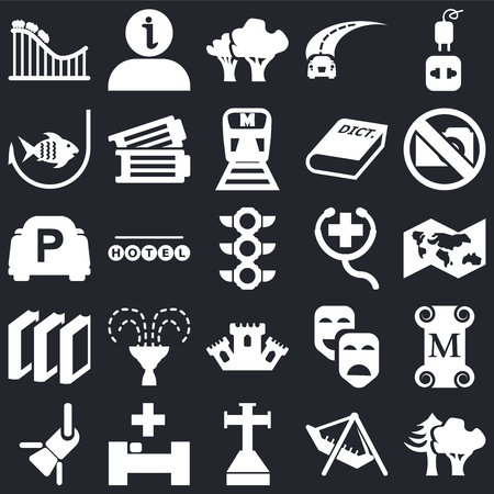 Set Of 25 simple editable icons such as Woods, World map, No Photo, Information, Reflector, Tickets, Carnival masks, Parking on black background, web UI icon pack Foto de archivo - 108181942