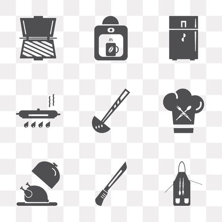Set Of 9 simple transparency icons such as Apron, Knife, Platter, Chef, Ladle, Pan, Fridge, Coffee maker, Toaster, can be used for mobile, pixel perfect vector icon pack on transparent background