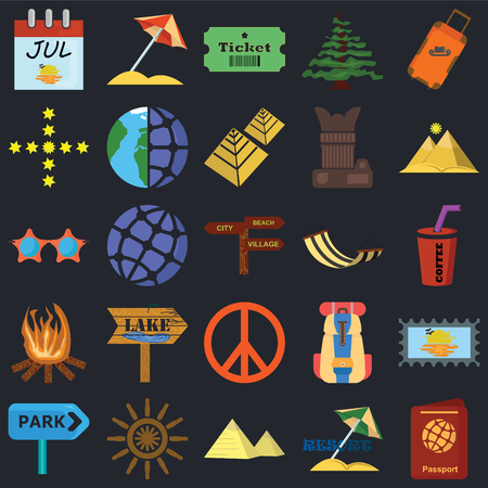 Set Of 25 icons such as Passport, Resort, Pyramid, Helm, Park, Hammock, Peace, Bonfire, Stars, Ticket, Sun umbrella on black background, web UI editable icon pack
