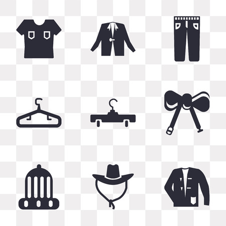 Set Of 9 simple transparency icons such as Coat, Cowboy hat, Winter Bow tie, Hanger, Jeans, Shirt, can be used for mobile, pixel perfect vector icon pack on transparent background Illustration