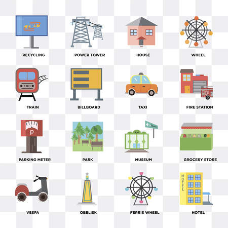 Set Of 16 icons such as Hotel, Ferris wheel, Obelisk,  Grocery store, Recycling, Train, Parking meter, Taxi on transparent background, pixel perfect