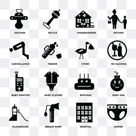 Satz von 16 Symbolen wie Windel, Krankenhaus, Milchpumpe, Spielplatz, Babymädchen, Schnuller, Überwachung, Monitor, Storch auf transparentem Hintergrund, Pixel perfekt