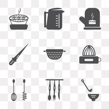Set Of 9 simple transparency icons such as Ladle, Cutlery, Mixer, Squeezer, Strainer, Knife, Mitten, Kettle, Barbecue, can be used for mobile, pixel perfect vector icon pack on transparent background Stock Illustratie