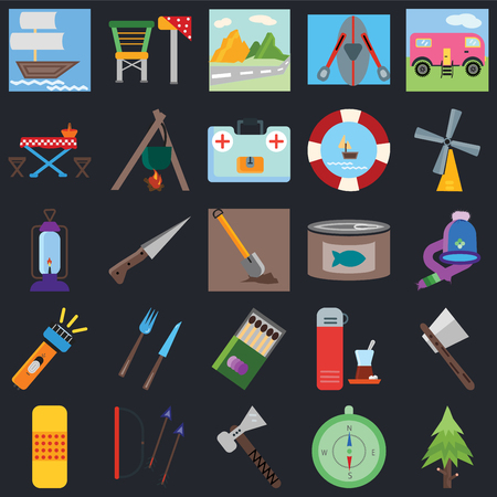 Set Of 25 icons such as Spruce, Compass, Pick, Arrows, Band aid, Wind rose, Canned food, Matches, Flashlight, Picnic table, Mountain, Camp chair on black background, web UI editable icon pack