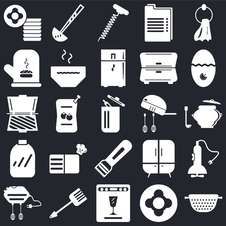 Set Of 25 icons such as Strainer, Dish, Dishwasher, Spatula, Mixer, Timer, Peeler, Conserve, Mitten, Corkscrew, Ladle on black background, web UI editable icon pack