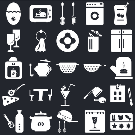 Set Of 25 icons such as Molded, Dishwasher, Mixer, Pot, Bottle opener, Cabinet, Strainer, Cocktail, Pizza cutter, Glass, Microwave on black background, web UI editable icon pack