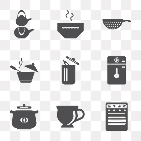 Set Of 9 simple transparency icons such as Oven, Tea cup, Pot, Freezer, Trash, Strainer, Bowl, Kettle, can be used for mobile, pixel perfect vector icon pack on transparent background