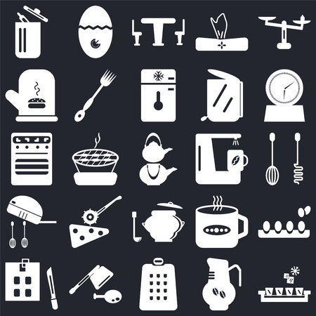 Set Of 25 icons such as Ice cube tray, Coffee pot, Grater, Cleaver, Kitchen board, Timer, maker, Saucepan, Mixer, Mitten, Table, Timer on black background, web UI editable icon pack