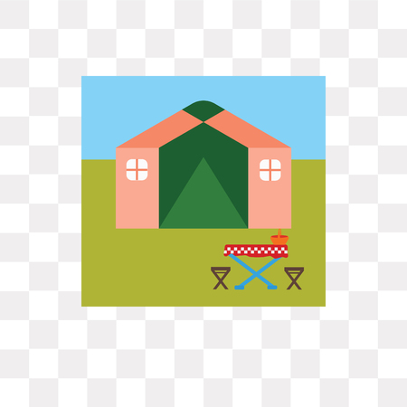 Tent vector icon isolated on transparent background, Tent logo concept Stock Illustratie