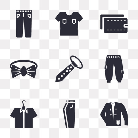 Set Of 9 simple transparency icons such as Coat, Jeans, Shirt, Tie, Bow tie, Wallet, can be used for mobile, pixel perfect vector icon pack on transparent background