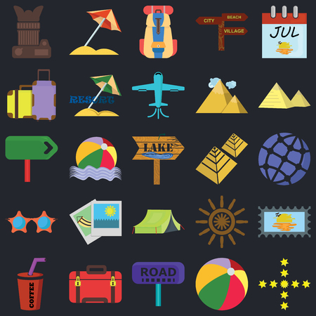 Set Of 25 icons such as Stars, Beach ball, Road, Suitcase, Drink, Pyramid, Tent, Sunglasses, Suitcases, Backpack, Sun umbrella on black background, web UI editable icon pack Vettoriali