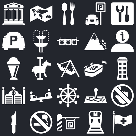 Set Of 25 simple editable icons such as Plain flag, Phone box, Information, World map, Strong knife, Fountain, Map, Ice Cream on black background, web UI icon pack Ilustração