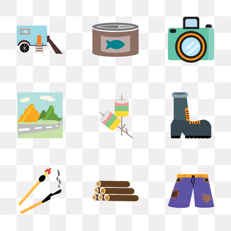 Set Of 9 simple transparency icons such as Shorts, Log, Match, Shoe, Marshmallow, Mountain, Camera, Canned food, Trailer, can be used for mobile, pixel perfect vector icon pack on transparent Stock Illustratie