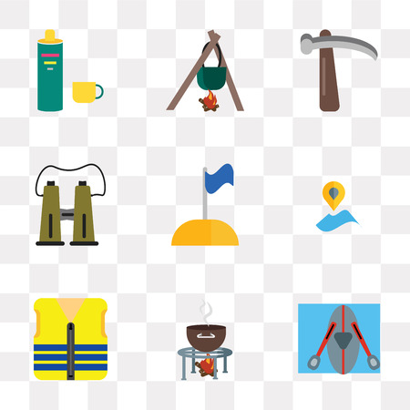 Set Of 9 simple transparency icons such as Kayak, Grill, Life vest, Placeholder, Flag, Binoculars, Pick, Cooking, Thermo, can be used for mobile, pixel perfect vector icon pack on transparent Illustration