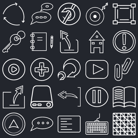 Set Of 25 simple editable icons such as Cutting tool selection, Keyboard, Exclamation mark, Speech bubble black, Pointing up arrow, Reading book, Add, web UI icon pack, pixel perfect Illustration
