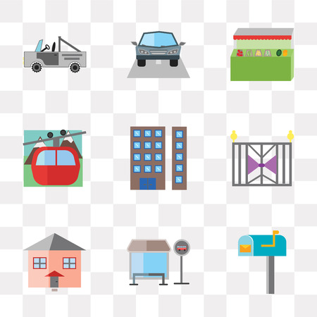 Set Of 9 simple transparency icons such as Mail box, Bus stop, House, Gate, Appartment, Cable car, Grocery store, Car, can be used for mobile, pixel perfect vector icon pack on transparent