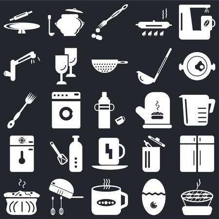Set Of 25 icons such as Barbecue, Timer, Tea cup, Mixer, Molded, Paella, Mitten, Cup, Freezer, Tap, Brush, Saucepan on black background, web UI editable icon pack