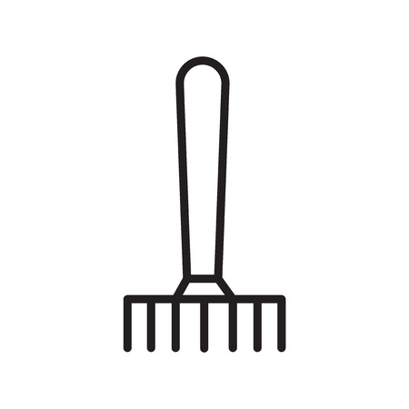 Rake icon vector isolated on white background, Rake transparent sign , linear symbol and stroke design elements in outline style