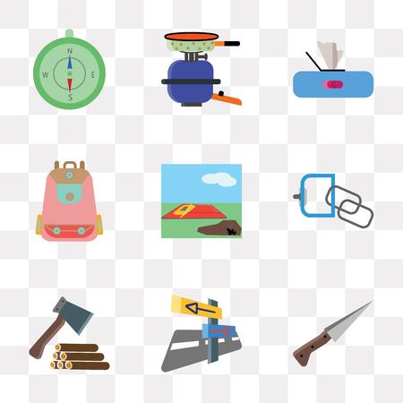 Set Of 9 simple transparency icons such as Knife, Panels, Axe, Carabiner, Sleeping bag, Backpack, Paper, Pot, Compass, can be used for mobile, pixel perfect vector icon pack on transparent background