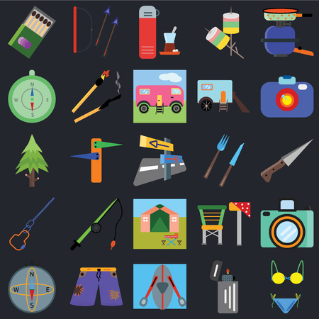 Set Of 25 icons such as Bikini, Lighter, Kayak, Shorts, Compass, Camera, Cutlery, Tent, Carabiner, Thermo, Arrows on black background, web UI editable icon pack
