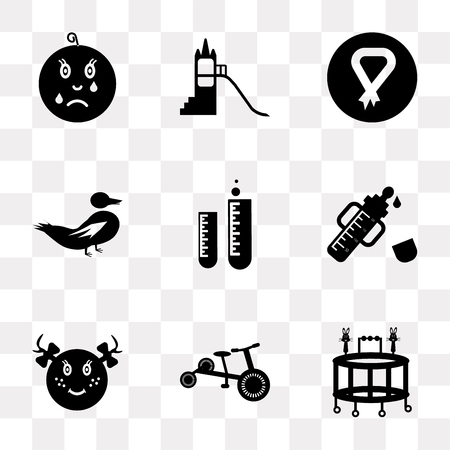 Set Of 9 simple transparency icons such as Walker, Tricycle, Baby girl, Feeder, Tube, Duck, Breast, Playground, Cry, can be used for mobile, pixel perfect vector icon pack on transparent background