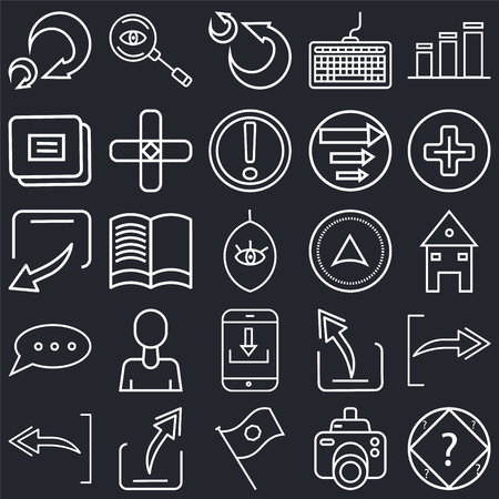 Set Of 25 simple editable icons such as Bar diagram, Photograph camera, Add, Export Arrow, Undo Navigation arrow, Reading book, web UI icon pack, pixel perfect