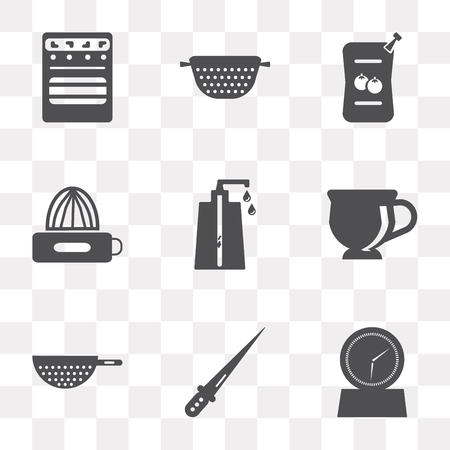 Set Of 9 simple transparency icons such as Timer, Knife, Strainer, Tea cup, Soap dispenser, Squeezer, Sauces, Oven, can be used for mobile, pixel perfect vector icon pack on transparent Ilustrace