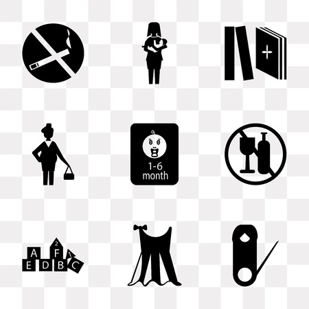 Set Of 9 simple transparency icons such as Safety pin, Baby clothes, Cubes, No alcohol, food, Pregnant, Tale, Breastfeeding, smoking, can be used for mobile, pixel perfect vector icon pack on