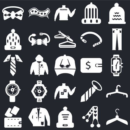 Set Of 25 icons such as Hanger, Scarf, Winter hat, Coat, Wallet, Trousers, Sweater, Watch, Scarf on black background, web UI editable icon pack