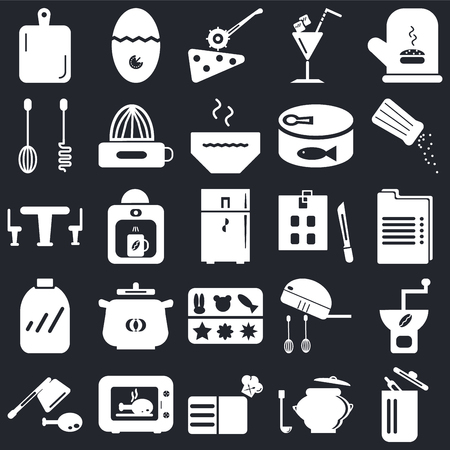 Set Of 25 icons such as Trash, Saucepan, Recipe, Microwave, Cleaver, Salt shaker, Kitchen board, Molded, Conserve, Mixer, Pizza cutter, Timer on black background, web UI editable icon pack