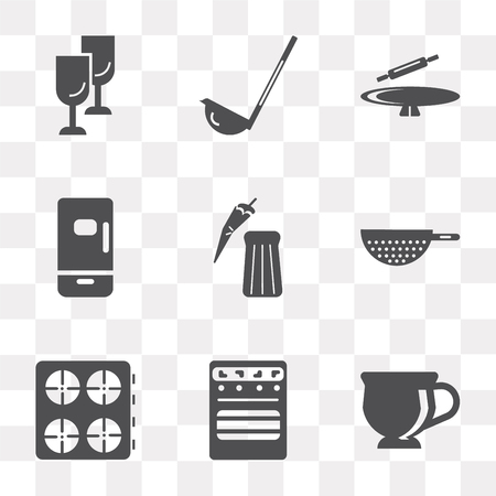 Set Of 9 simple transparency icons such as Tea cup, Oven, Stove, Strainer, Pepper, Fridge, Rolling pin, Scoop, Glass, can be used for mobile, pixel perfect vector icon pack on transparent background