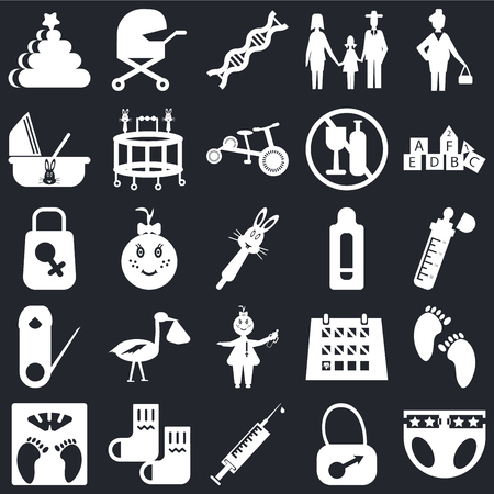 Set Of 25 icons such as Diaper, Bag, Syringe, Socks, Scale, Cubes, Pregnancy test, Baby, Safety pin, Cradle, Dna, Baby carriage on black background, web UI editable icon pack Vectores
