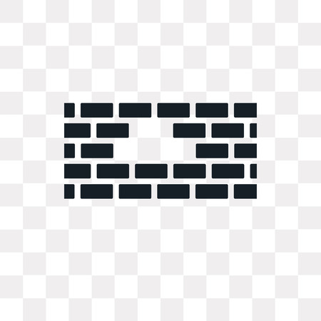 Brick wall vector icon isolated on transparent background, Brick wall logo concept