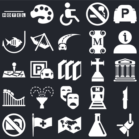Set Of 25 simple editable icons such as Reflector, Monument, Information, Painter palette, No Photo, Amusement Park, Metro, Map on black background, web UI icon pack