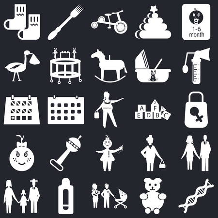 Set Of 25 icons such as Dna, Teddy bear, Family, Pregnancy test, Breast pump, Cubes, Baby, Baby girl, Stork, Tricycle, Fork on black background, web UI editable icon pack Vettoriali