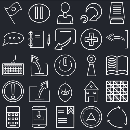 Set Of 25 simple editable icons such as Refresh page arrow button, Reading book, Undo Arrow, Pause Calculator, Note Blog, Home web page, Keyboard on black background, UI icon pack