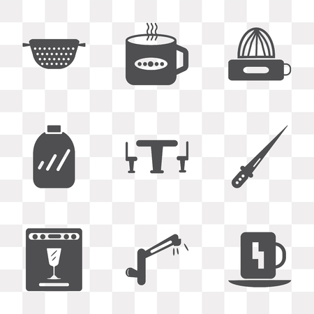 Set Of 9 simple transparency icons such as Cup, Tap, Dishwasher, Knife, Table, Conserve, Squeezer, Tea cup, Strainer, can be used for mobile, pixel perfect vector icon pack on transparent background