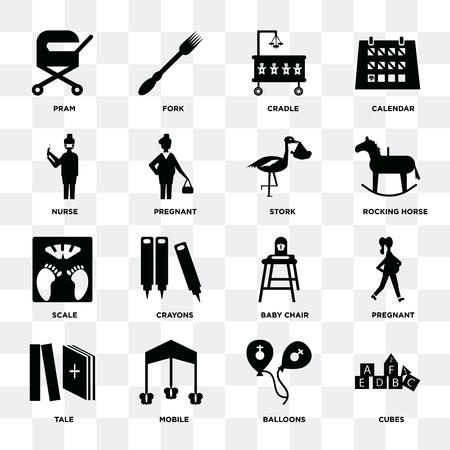 Ensemble de 16 icônes telles que Cubes, Ballons, Mobile, Conte, Enceinte, Landau, Infirmière, Échelle, Cigogne sur fond transparent, pixel parfait