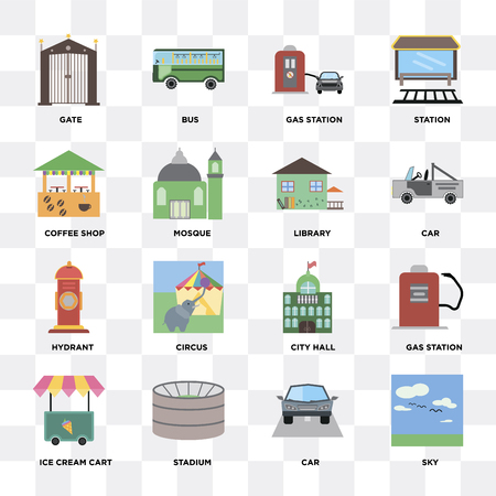 Set Of 16 icons such as Sky, Car, Stadium, Ice cream cart, Gas station, Gate, Coffee shop, Hydrant, Library on transparent background, pixel perfect Illusztráció