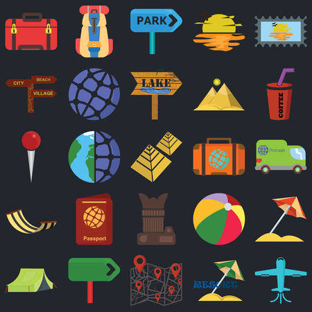 Set Of 25 icons such as Plane, Resort, Map, Panel, Tent, Drink, Suitcase, Photo camera, Hammock, Pointer, Park, Backpack on black background, web UI editable icon pack